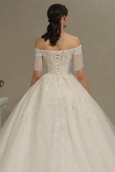 CPH224 Appliques Beads Off-the-shoulder Tassel Ball Gown Wedding Dress_8