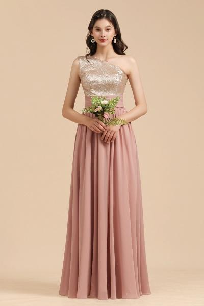 BM2010 Sequins A-line One Shoulder Pink Bridesmaid Dress_7