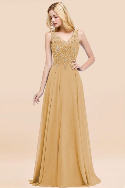 A-line Chiffon Appliques V-neck Sleeveless Floor-Length Bridesmaid Dresses with Crystals_13