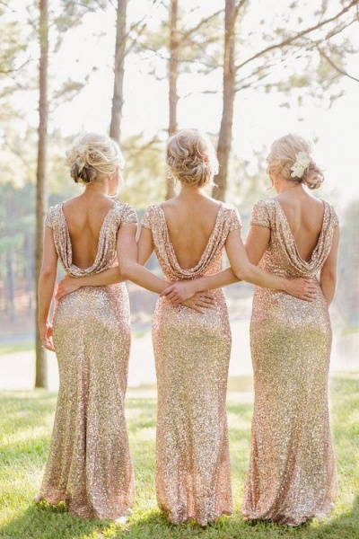 Women Sparkly Rose Gold Long Sequins Bridesmaid Dresses Prom/Evening Gowns_8