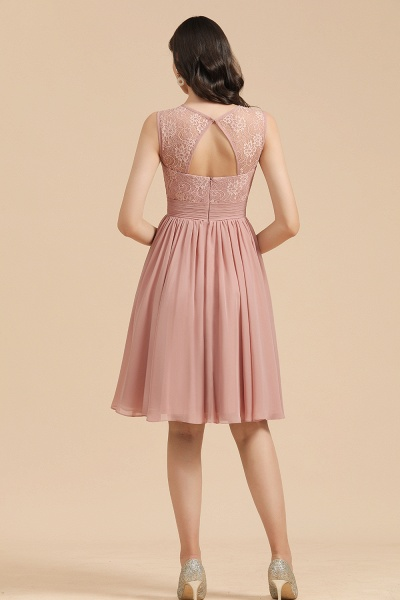 BM2008 Simple Lace Straps Knee Length Short Bridesmaid Dress_3