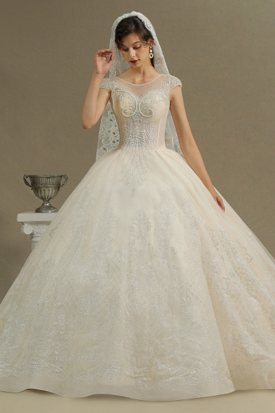 CPH223 Cap Sleeve Aline Cathedral Tulle Lace Appliques Garden Luxury Wedding Dresses_4