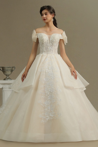 CPH244 Elegant Off-the-Shoulder Tulle Lace Ball Gown Floor Length Luxury Wedding Dresses_3