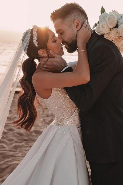 BC5617 One Shoulder Long Sleeve Sequins A-line Wedding Dress_5