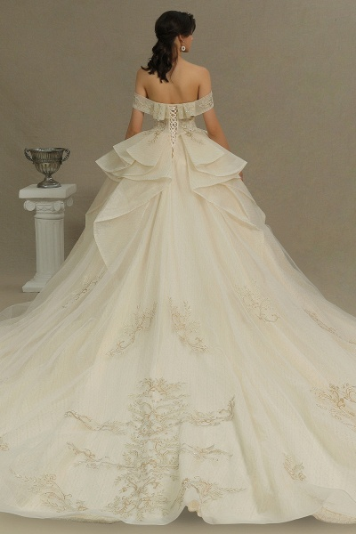 CPH243 Gorgeous Off-the-Shoulder Floral Appliques Ball Gown Ivory Luxury Wedding Dresses_2