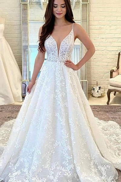 White Sleeveless Lace Appliques Tulle Wedding Dress_1