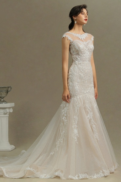 CPH234 Gorgeous Mermaid Lace Cap Sleeve Sheer Tulle Neckline Wedding Dress_5