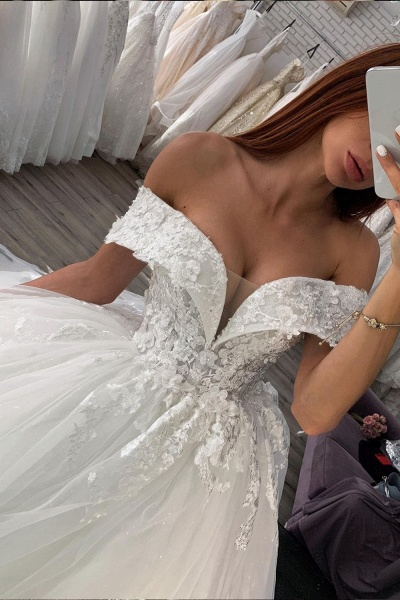 BC5614 Shiny Lace Sweetheart Off The Shoulder Ball Gown Wedding Dress_2