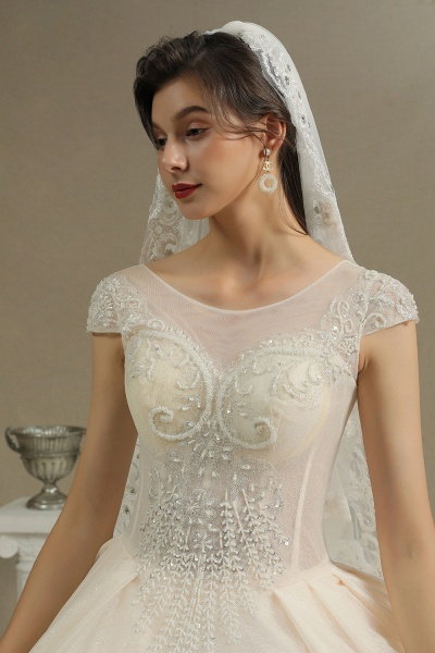 CPH223 Cap Sleeve Aline Cathedral Tulle Lace Appliques Garden Luxury Wedding Dresses_3