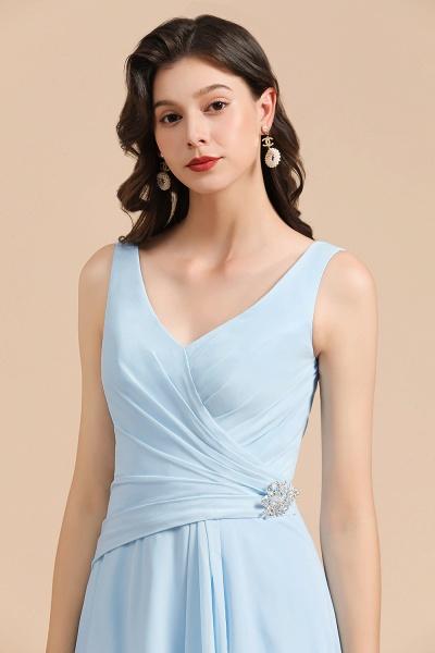BM2002 Sky Blue Ruffles Straps A-line Beads Bridesmaid Dress_8
