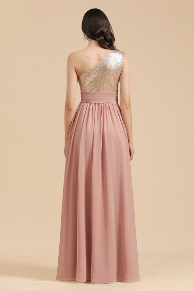 BM2010 Sequins A-line One Shoulder Pink Bridesmaid Dress_3