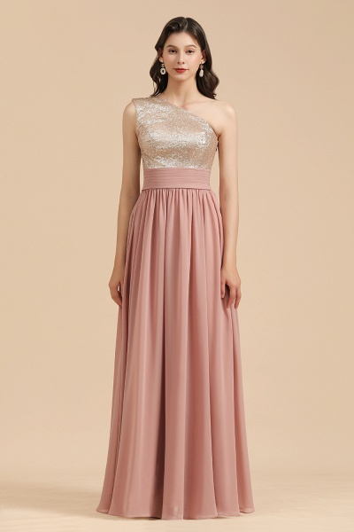 BM2010 Sequins A-line One Shoulder Pink Bridesmaid Dress_4