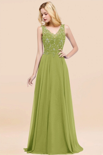 A-line Chiffon Appliques V-neck Sleeveless Floor-Length Bridesmaid Dresses with Crystals_34