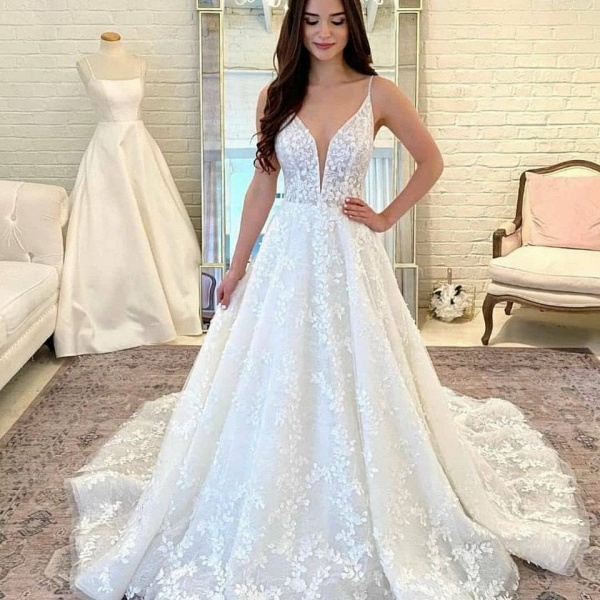 White Sleeveless Lace Appliques Tulle Wedding Dress_3