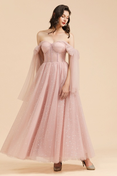 BM2007 A-line Pink Off The Shoulder Bow Tulle Floor Length Bridesmaid Dress_8