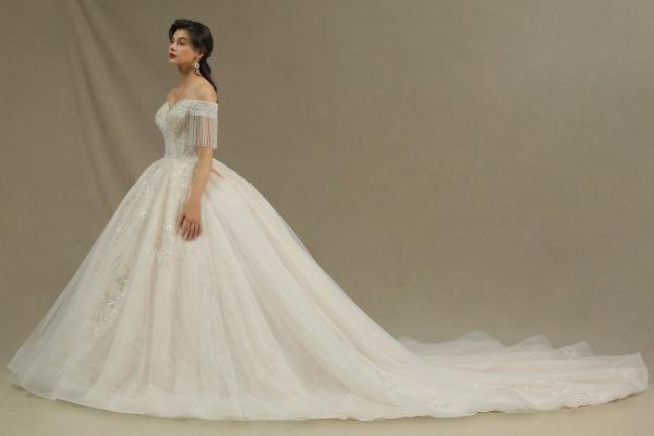CPH224 Appliques Beads Off-the-shoulder Tassel Ball Gown Wedding Dress_6