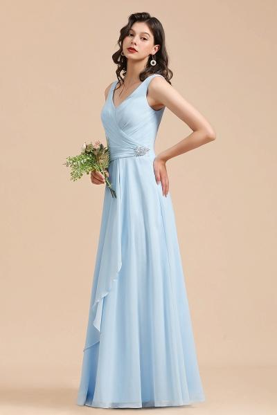 BM2002 Sky Blue Ruffles Straps A-line Beads Bridesmaid Dress_5