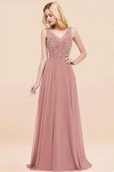 BM0324 Dusty Rose Lace V-Neck Long Bridesmaid Dresses With Appliques