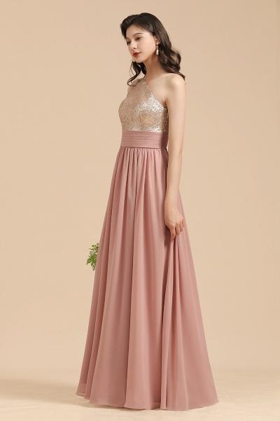 BM2010 Sequins A-line One Shoulder Pink Bridesmaid Dress_8