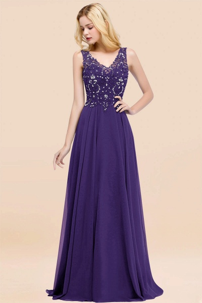 A-line Chiffon Appliques V-neck Sleeveless Floor-Length Bridesmaid Dresses with Crystals_19