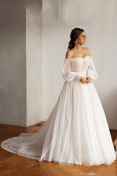 Off shoulder Puffy Sleeve Dot Tulle Wedding Dresses_4