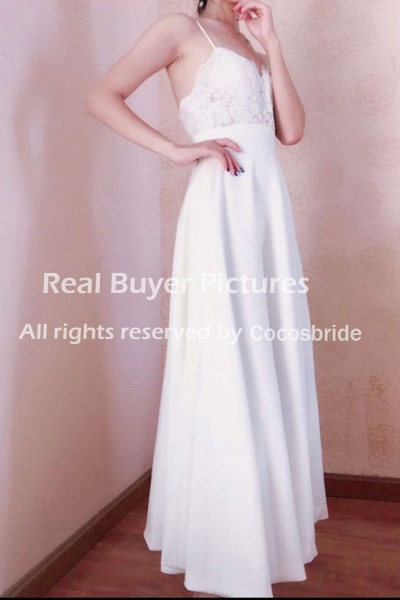 A-Line Wedding Dresses V Neck Tea Length Satin Spaghetti Strap Formal Illusion Detail_6