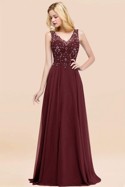 A-line Chiffon Appliques V-neck Sleeveless Floor-Length Bridesmaid Dresses with Crystals_10