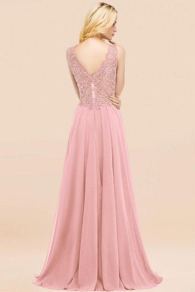 BM0324 Dusty Rose Lace V-Neck Long Bridesmaid Dresses With Appliques_4