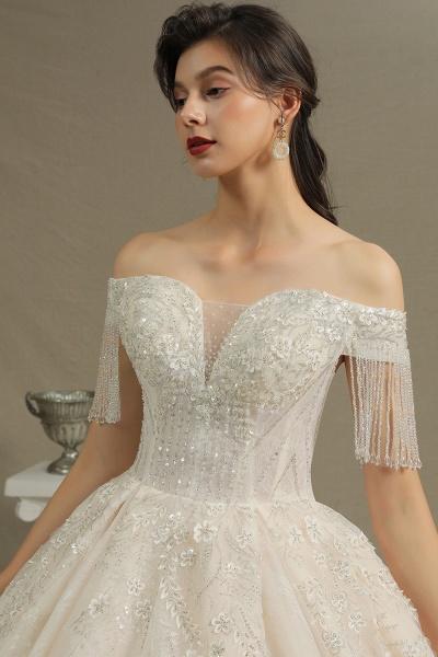 CPH224 Appliques Beads Off-the-shoulder Tassel Ball Gown Wedding Dress_7