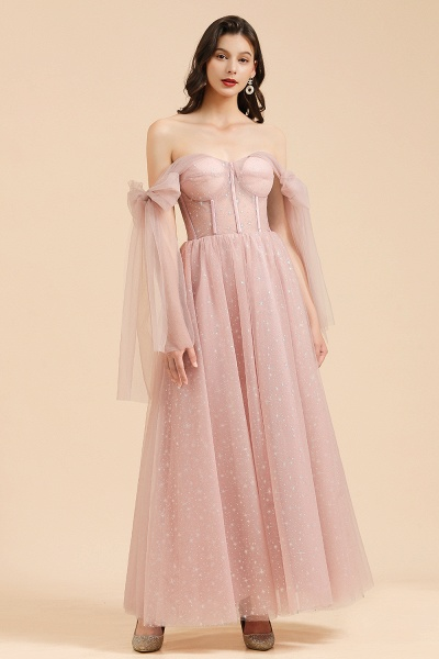 BM2007 A-line Pink Off The Shoulder Bow Tulle Floor Length Bridesmaid Dress_3