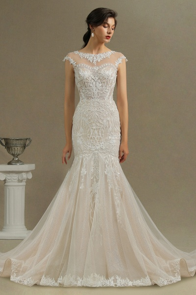 CPH234 Gorgeous Mermaid Lace Cap Sleeve Sheer Tulle Neckline Wedding Dress_3