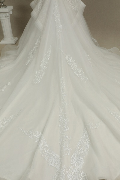 CPH227 Luxury Floral Lace Bridal Gown Crew Neck Long Sleeves Aline Luxury Wedding Dresses_6