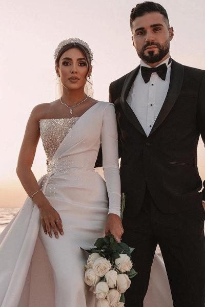 BC5617 One Shoulder Long Sleeve Sequins A-line Wedding Dress_4
