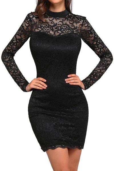 ARYANNA | Sheath High Neck Short Black Lace Cocktail Dresses_1