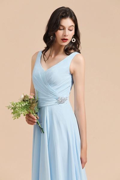 BM2002 Sky Blue Ruffles Straps A-line Beads Bridesmaid Dress_7