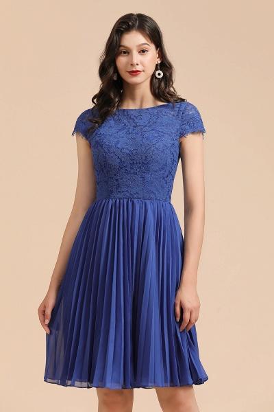BM2003 Royal Blue Lace Short Sleeve Knee Length Bridesmaid Dress_9