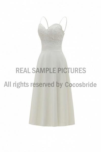 A-Line Wedding Dresses V Neck Tea Length Satin Spaghetti Strap Formal Illusion Detail_4