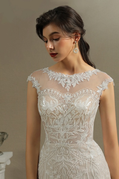 CPH234 Gorgeous Mermaid Lace Cap Sleeve Sheer Tulle Neckline Wedding Dress_4
