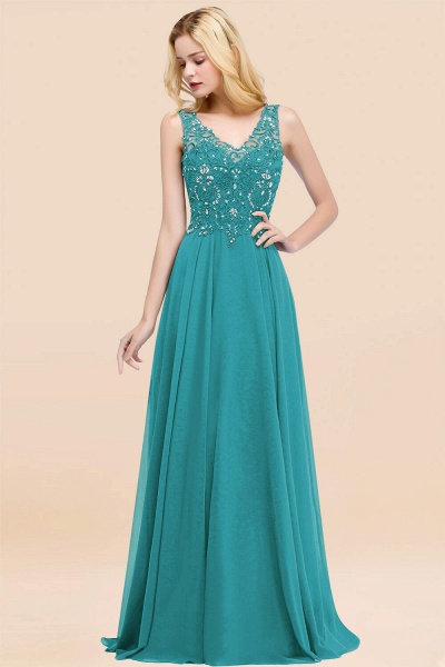 A-line Chiffon Appliques V-neck Sleeveless Floor-Length Bridesmaid Dresses with Crystals_32