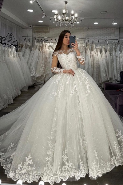 BC5615 Long Sleeve Appliques Sheer Tulle Ball Gown Wedding Dress_3