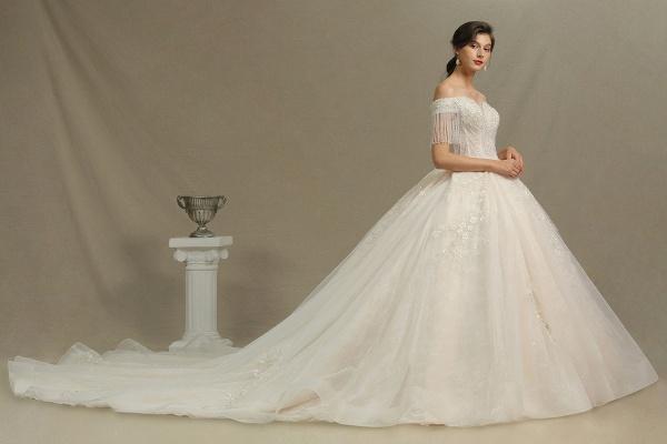 CPH224 Appliques Beads Off-the-shoulder Tassel Ball Gown Wedding Dress_3