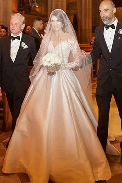 High Slit Lace Mermaid Wedding Dresses with Detachable Skirt_3