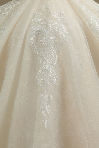 CPH222 Short Sleeve Garden Bridal Gown Sweetheart Luxury Wedding Dresses with Sweep Train_5