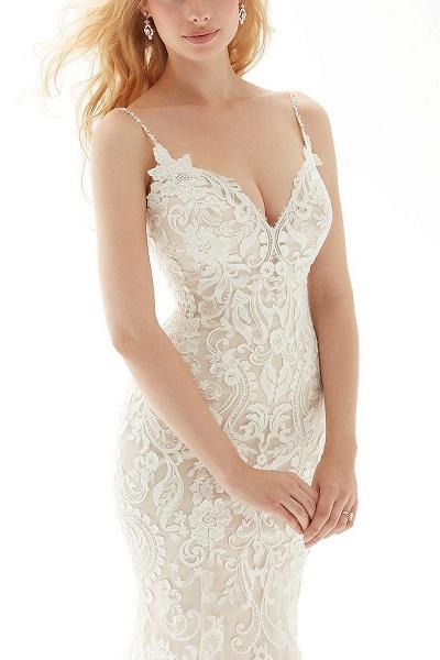 Elegant White Mermaid Backless Lace Wedding Dresses_2