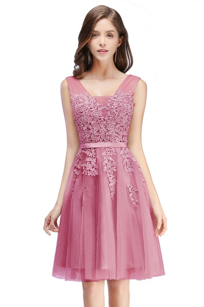 Glorious V-neck Tulle A-line Evening Dress_3