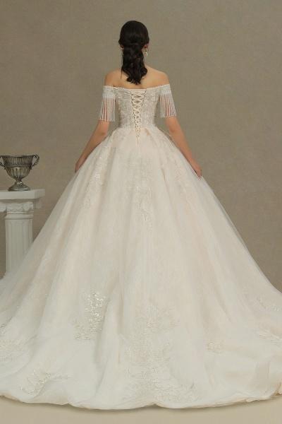 CPH224 Appliques Beads Off-the-shoulder Tassel Ball Gown Wedding Dress_5