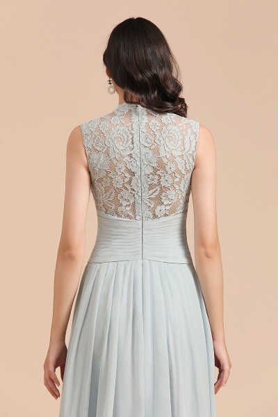 BM2001 A-line High Neck Lace Sleeveless Long Bridesmaid Dress_9