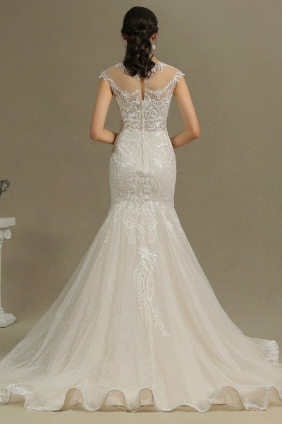 CPH234 Gorgeous Mermaid Lace Cap Sleeve Sheer Tulle Neckline Wedding Dress_7