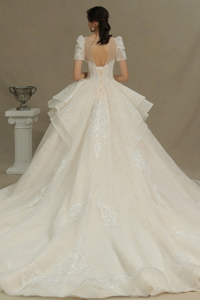 CPH222 Short Sleeve Garden Bridal Gown Sweetheart Luxury Wedding Dresses with Sweep Train_7