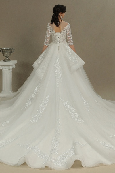 CPH227 Luxury Floral Lace Bridal Gown Crew Neck Long Sleeves Aline Luxury Wedding Dresses_2
